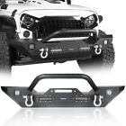 Textured Black Mid Front Bumper Built in Winch Plate for Jeep Wrangler JK 07 18