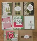 8 Handmade CHRISTMAS cards plaid snowflakes trees Stampin Up CLEARANCE
