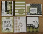6 Handmade CHRISTMAS cards olive plaid snowflakes Foil Stampin Up CLEARANCE