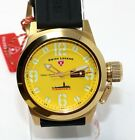 Swiss Legend Men's Submersible Watch Yellow w/ Gold Case & Black Band 10543 NEW