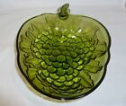 Vintage Indiana  Green Glass Grape Serving Bowl 10