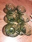Vinage Green Glass Dessert Cups Cubist Footed bowls Indiana Glass