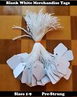Pre Strung Blank White Merchandise Price Tags Large Small Hang String Jewelry