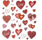 2 Sheets Patchwork Hearts Stickers Papercraft Planner Supply Valentines Day