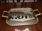 HUGE MURANO GLASS TWISTED ROPE ETCHED SILHOUETTE MIRROR TRAY MINT