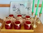 Beautiful MCM SET OF 6 ROLY POLY, Low Ball Ruby , Flashed Glass, with Gold Band