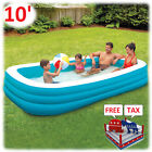 Inflatable Pool Lounger Kid Adult Family Ground Swim Backyard Garden Lounge