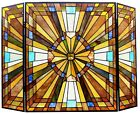 38 mission Tiffany Style Stained Glass Fireplace Screen 3PC Folding