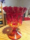 Vintage Ruby Red Amberina Candy Dish Candle Holder Vase Compote Footed Pedistal