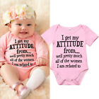 Newborn Infant Baby Girl Funny Letter Romper Jumpsuit Soft Clothes Outfits 0 18M