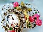 Victorian Style St Theresa Flower Cameo White Crystal  Roses St Benedict Rosary