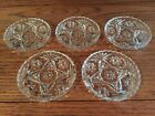 OLD PRESSED GLASS / COASTERS / STAR DESIGN / SET OF 5