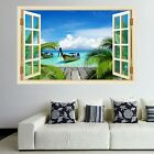 Tropical Beach Rowing Boat Wall Art Stickers Mural Decal Print Home Decor HK4