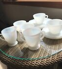 Service for 4 vintage Fire King Opaque White Milk Glass Luncheon Set.