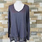Wrap Designed In London Womens Sz 12 Long Sleeve Top Tunic Ruffle Bottom V neck
