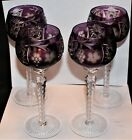 SET OF 4 BOHEMIAN AMETHYST CUT TO CLEAR GOBLETS