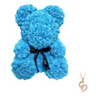 Blue Rose Flower Teddy Bear 10 + FREE I Love You Necklace  Mothers Day