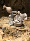 Lladro Figurine Bashful Bather Girl Washing Puppy Retired Mint #5455