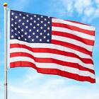 Telescopic Aluminum Flagpole with American Flag and Gold Ball Multiple Size New