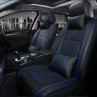Deluxe Car Seat Cover Cushions Front Rear Full Set Thicken Pu Leather Interior