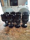 Tiara Diamond Point Cameo Black Wine Goblets Midcentury Modern Vintage Set Of 8