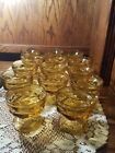 Set of 14 Vintage Amber Glass Footed Ice Cream Sundae Dessert Dishes Bowls