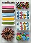 HUGE LOT 180+ Pink Blue Brown Yellow Green Paper Brads Buttons Ribbon