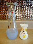 2 Vintage Glass Vases or Apothocary Jars Textured Base Flowers Scalloped Rim