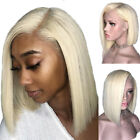 US Pre Plucked Blonde Bob Wig Malaysian Human Hair Lace Front Wig Black Women #f