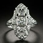 Vintage Women 925 Silver Wedding Rings Round Cut White Sapphire Ring Size 6 10