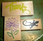 Lot of 3 Rubber Stamps Thanks Daisy Lizard Craft rubber stamps stamping