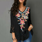 Women Casual V Neck Floral Lace Patchwork 3 4 Sleeve Shirt Blouse Top Clever