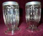 Vintage Clear Glass Ribbed Salt and Pepper Shakers Unmarked Parfait Shape