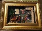 Rare Kirkland Christmas Nativity Set Large Creche Wall Hanging Gold Framed 3D