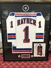 NEW YORK RANGERS CHUCK RAYNER SIGNED JERSEY, 8x10, Puck, Pin NEW Mac Daddy FRAME