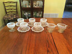 Rare, Beautiful 13pc Set of Moonstone Opalescent Blue Hobnail Set of Dishes