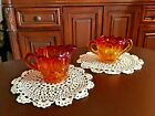 Vintage Amberina L.E. Smith Moon And Stars Creamer Sugar Set Flawless Shape