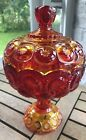 Moon and stars Thumbprint Amberina Red Sunset Pedastal Candy Dish with lid