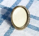Vintage Small Oval 3x4 Photo Frame Convex Glass Gold Tone Metal Filigree Border