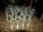 Set of eight vintage silver leaf foliage tumbler glasses by Libbey