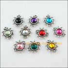 20 New Flower Acrylic Connector Mixed Charms Tibetan Silver Tone Pendant 14x15mm