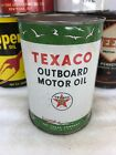 Vintage Quart Texaco Outboard Boat New York Full Oil Can Metal No Reserve!!