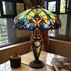 Tiffany Style Table Lamp Victorian Blue Red Gold Green Stained Glass Shade 26 H