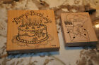 2pc set of Comotion Love You To Bits Happy Birthday Cake Wood Mounted Stamp