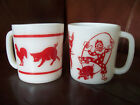 Hazel Atlas Kiddie Cups Red Farm Animals Circus Clowns red white glass