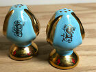 Vintage Blue  Gold Tone Ceramic Salt  Pepper Shakers From Baltimore MD