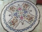 Vintage Arts  Crafts Hand Embroidered Natural Linen Tablecloth 53 diameter