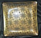DOROTHY THORPE  -- MID CENTURY GOLD DESIGN  --  SQUARE GLASS SERVING PLATE