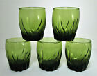 5 Anchor Hocking Central Park Double Rocks Tumblers Ivy Green 12 oz Old Fashion