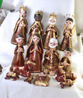 3003 Clay Mexican Nativity 14 pieces 6 1 2 tall Very Nice Set